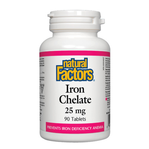 Natural Factors Iron Chelate for anemia.  90 tabs