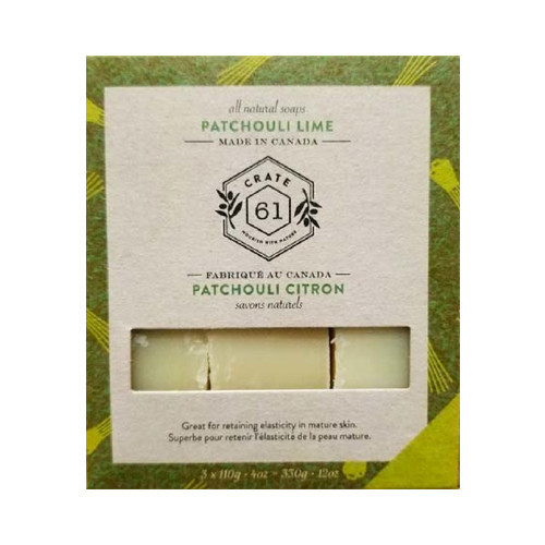 Crate 61 3-Pack Patchouli Lime Natural Bar Soap 330 grams Canada