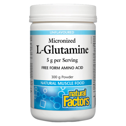 Natural Factors Micronized L-Glutamine amino acid unflavoured powder.