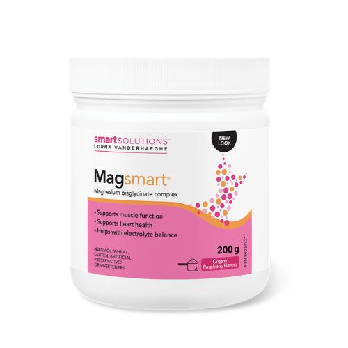 Smart Solutions Lorna Vanderhaeghe MAGsmart Organic Raspberry Magnesium Bisglycinate powder 200 grams