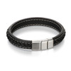 Fred Bennett Adventurer Brushed Silver Clasp Black Leather Bracelet - 22cm - B4984