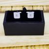 Silver Plated Cufflinks with Diamante - Presentation box