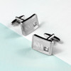 Brushed Silver Plated Cufflinks with Crystal