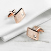 Rose Gold Plated Cufflinks with Crystal - 2