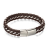 Fred Bennett Brown Leather and Steel Woven Bracelet - B5058