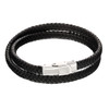 Fred Bennett Woven Plait Double Row Black Leather Bracelet