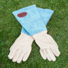 Personalised Blue Leather Gardening Gloves