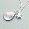 Personalised Silver Star and Drop Necklace