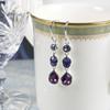 Amethyst Swarovski Drop Silver Earrings For Women