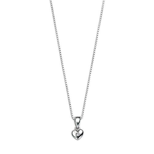 D for Diamond Sterling Silver Diamond Heart Pendant