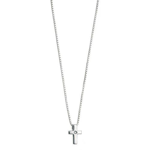 D for Diamond Sterling Silver Diamond Cross Pendant