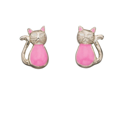 Silver and Pink Cat Stud Earrings