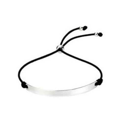 Silver ID Black Bar Chord Toggle Bracelet
