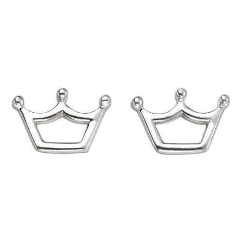 Silver Princess Crown Stud Earrings