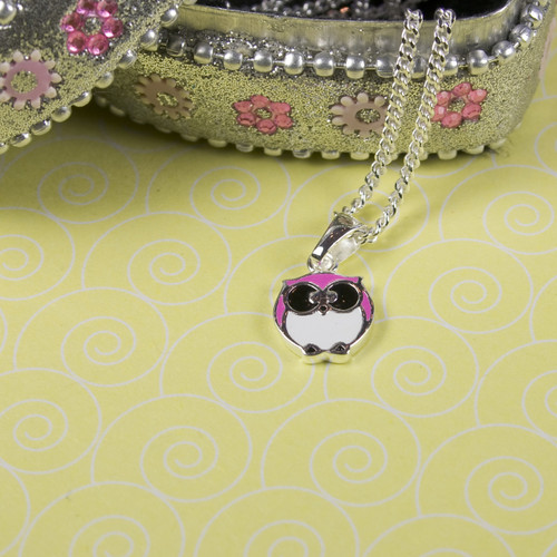 Sterling Silver Pink Owl Necklace