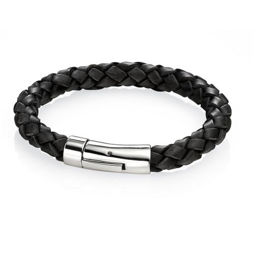 Fred Bennett Maverick Black Leather Braid Bracelet - 22cm - B3672