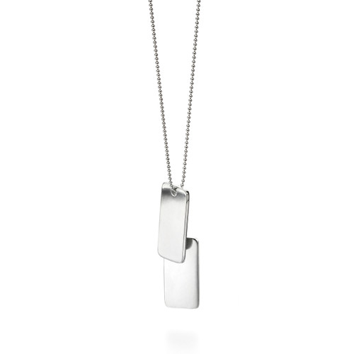 Fred Bennett Classic Double Dog Tag Silver Necklace - N4149