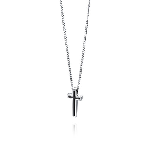 Fred Bennett Maverick Stainless Steel Black PVD Cross Pendant - P3006