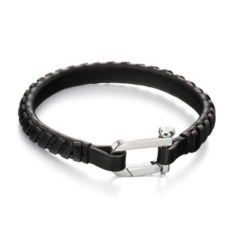 Fred Bennett Maverick Black Leather Bracelet - 21cm - B5002