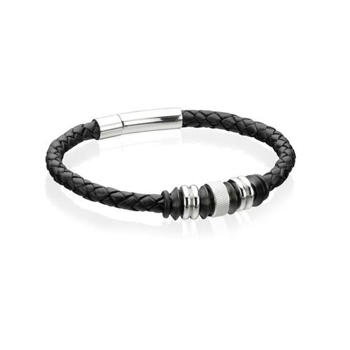 Fred Bennett Maverick Black Leather and Stainless Steel Bracelet - 21cm - B3898