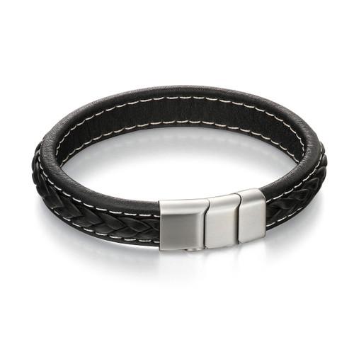Fred Bennett Adventurer Brushed Silver Clasp Black Leather Bracelet - 22cm - B4984