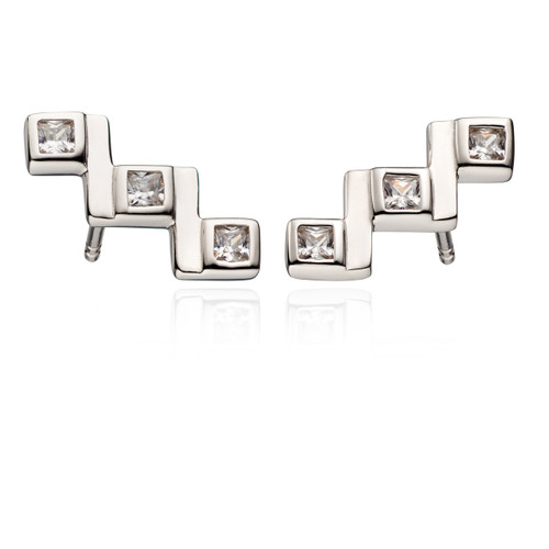 Fiorelli Cubic Zirconia Crawler Stud Earrings