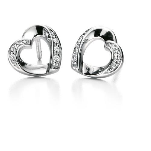 Fiorelli Cubic Zirconia Ribbon Heart Earrings