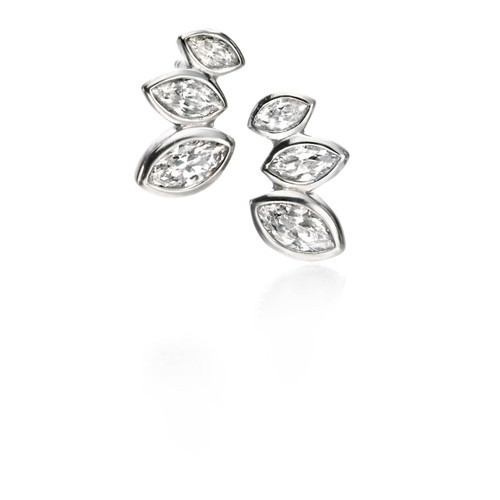 Fiorelli Clear CZ Marquise Cluster Stud Earrings
