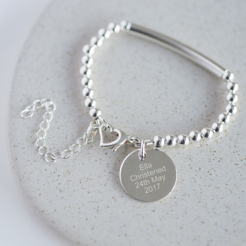 Sterling Silver Personalised Christening Bracelet
