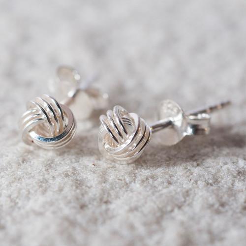 Sterling Silver Tying The Knot Stud Earrings