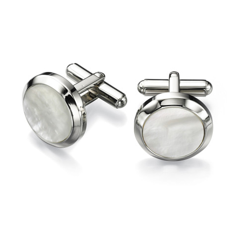 Fred Bennett Stainless Steel White Mother of Pearl Round Cufflinks