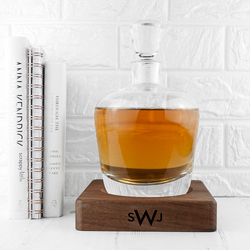 Monogrammed LSA Whisky Decanter with Walnut Base - 1
