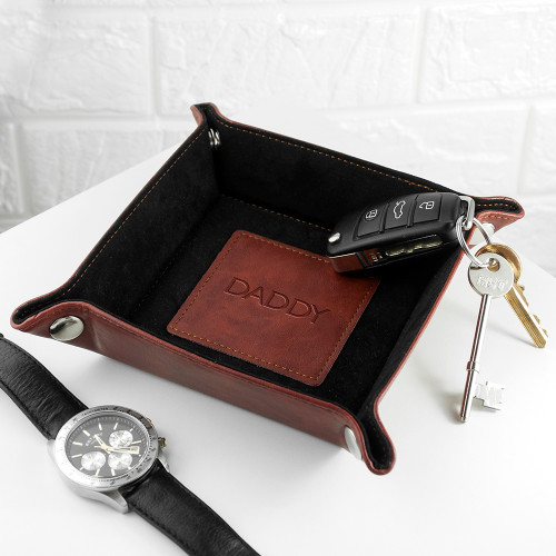 "Personalised Brown Leather Valet Tray - ""Blind"" Embossed"