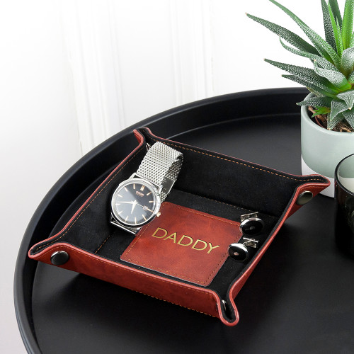 Personalised Brown Leather Valet Tray - Gold Embossed