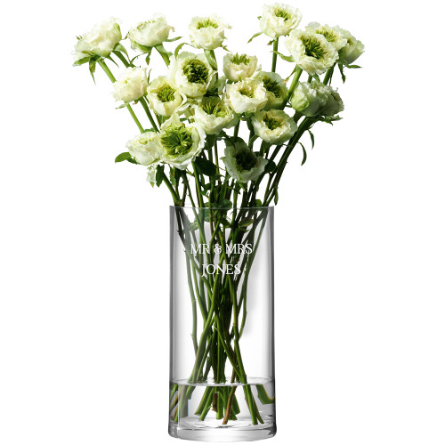 Personalised LSA Glass Column Vase - Serif Font