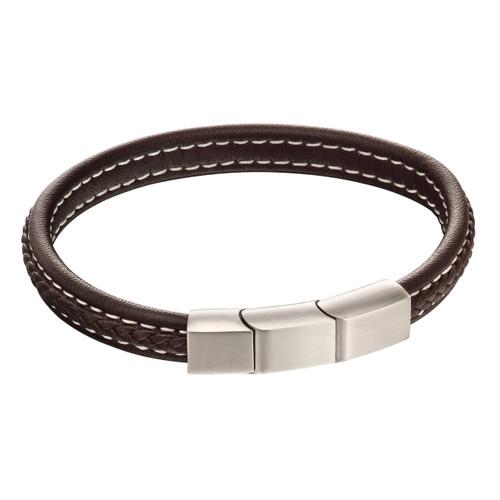 Fred Bennett Plaited Brown Leather Bracelet