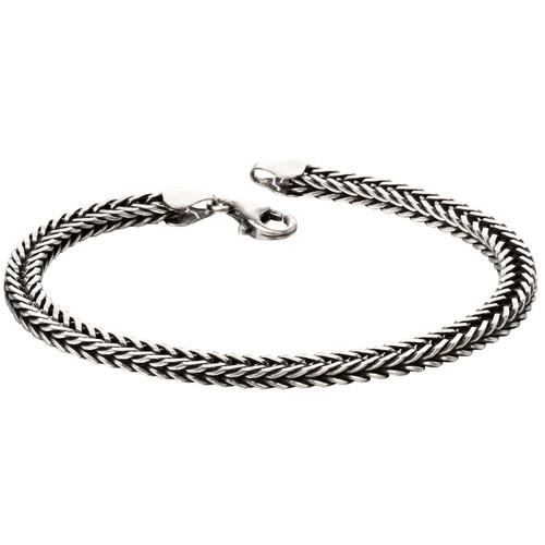 Fred Bennett Sterling Silver Oxidised Fox Tail Chain Bracelet