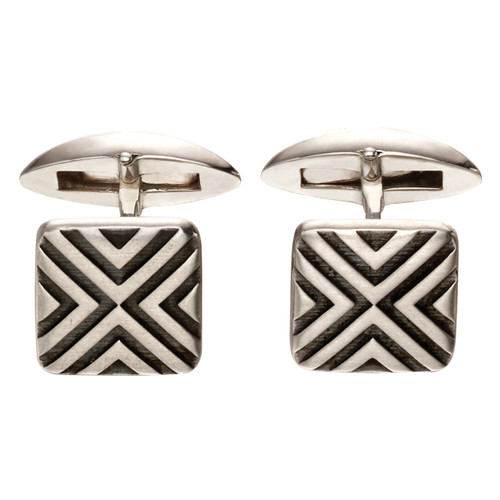 Fred Bennett Sterling Silver Oxidised Linear Cufflinks