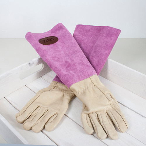Personalised Pink Leather Gardening Gloves - Image 1