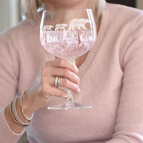 Personalised Crystal Cut Mama Bear Gin Glass - Image 1