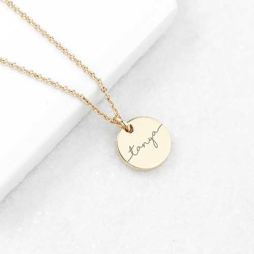 Personalised Disc Necklace - Gold