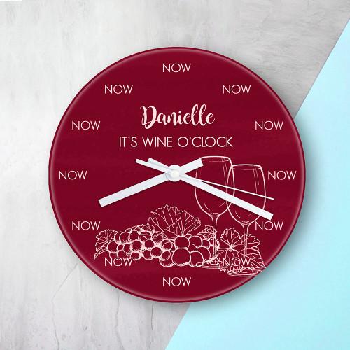 Personalised Wine O'Clock Glass Clock - 20cm