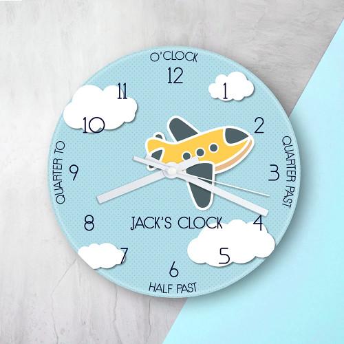 Personalised Kids Aeroplane Glass Clock - 20cm