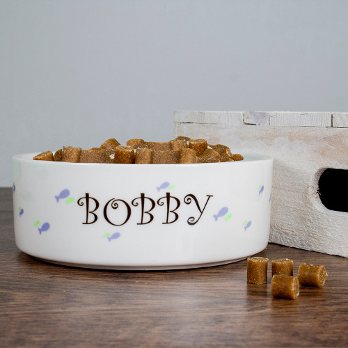 Personalised Male Fishy Cat Food Bowl - Pic 1