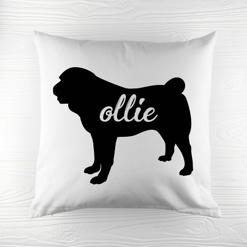 Personalised Pug Silhouette Cushion Cover - Pic 1