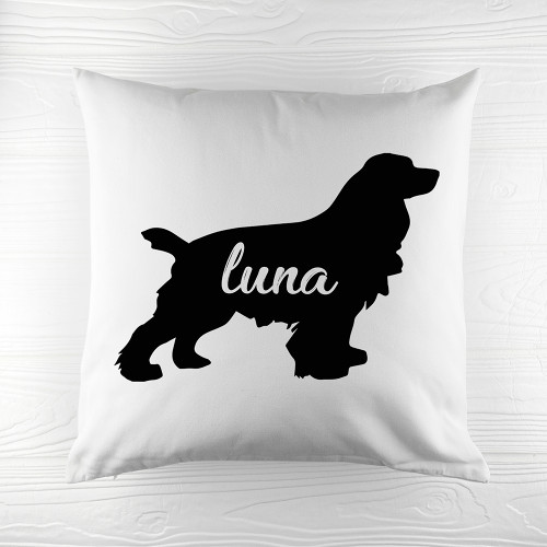 Personalised Cocker Spaniel Silhouette Cushion Cover - Pic 1