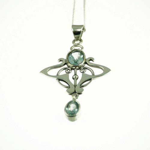 Silver and Blue Topaz Pendant for Women
