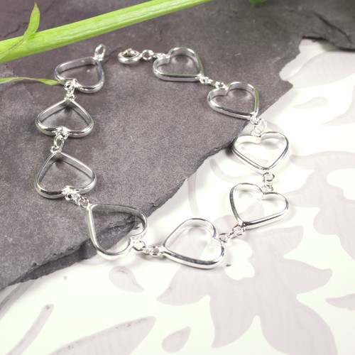 Open Hearts Sterling Silver Bracelet for Women