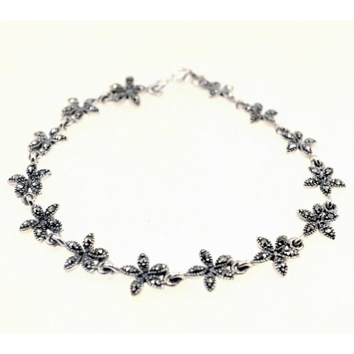 Silver Marcasite Flower Bracelet