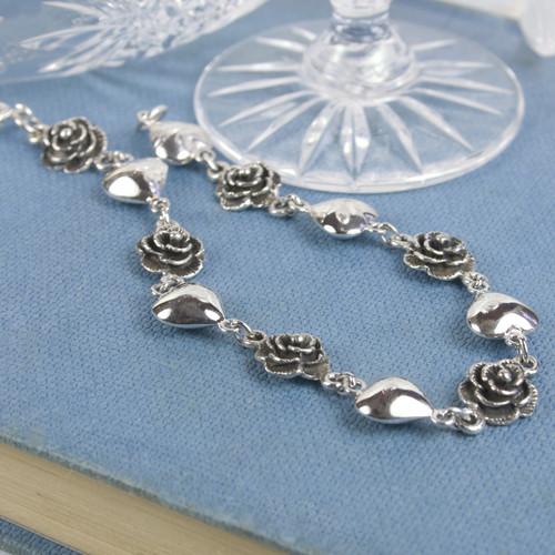 Silver Heart & Rose Bracelet